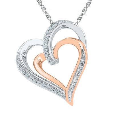 Womens 1/5 CT. T.W. White Diamond 10K Gold Over Silver Pendant Necklace