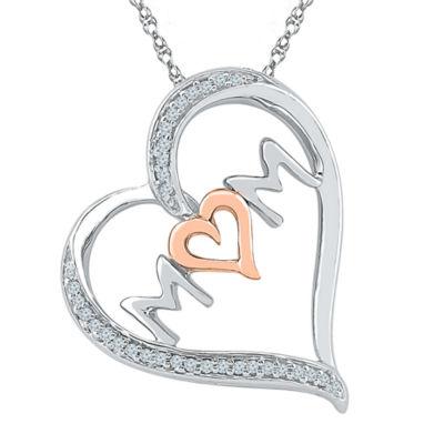Womens 1/10 CT. T.W. White Diamond 10K Gold Over Silver Pendant Necklace