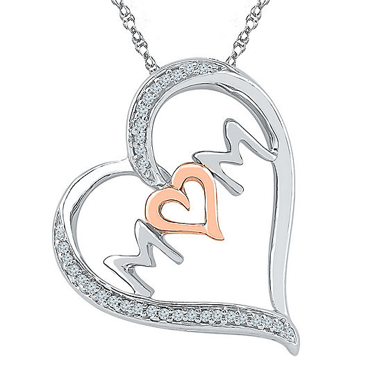 "'Mom"" Womens 1/10 CT. T.W. Genuine White Diamond 10K Gold Over Silver Heart Pendant Necklace"
