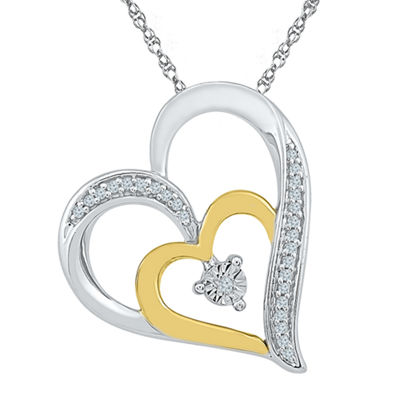 Womens Diamond Accent White Diamond 10K Gold Over Silver Pendant Necklace