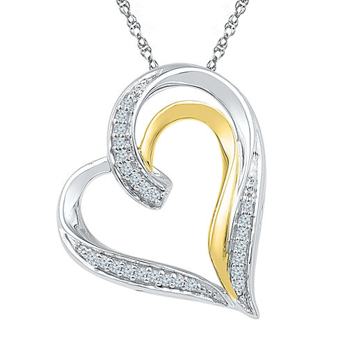 Womens White Diamond Gold Over Silver Pendant Necklace