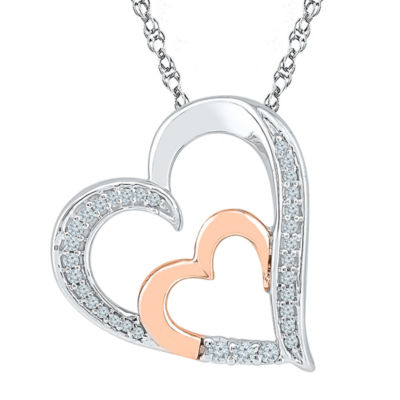 Womens 1/6 CT. T.W. White Diamond 10K Gold Over Silver Pendant Necklace