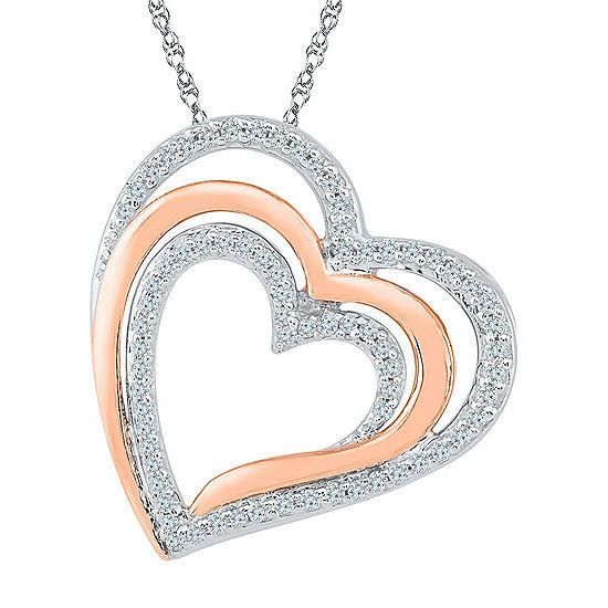Womens 1/4 CT. T.W. White Diamond 10K Gold Over Silver Pendant Necklace