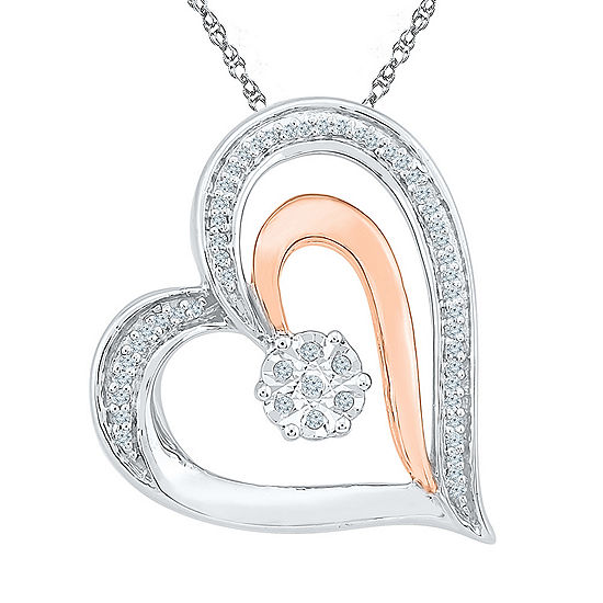 Womens 1 10 Ct Tw White Diamond 10k Gold Over Silver Pendant Necklace