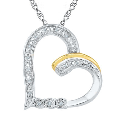 Womens Diamond Accent White Diamond Gold Over Silver Pendant Necklace