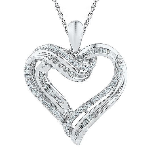 Womens 3/8 CT. T.W. Genuine White Diamond Sterling Silver Pendant Necklace