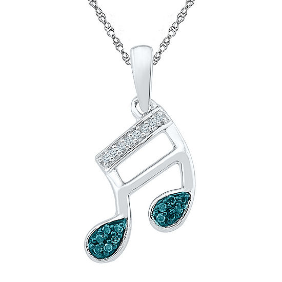 Womens Diamond Accent Blue Diamond Sterling Silver Pendant Necklace