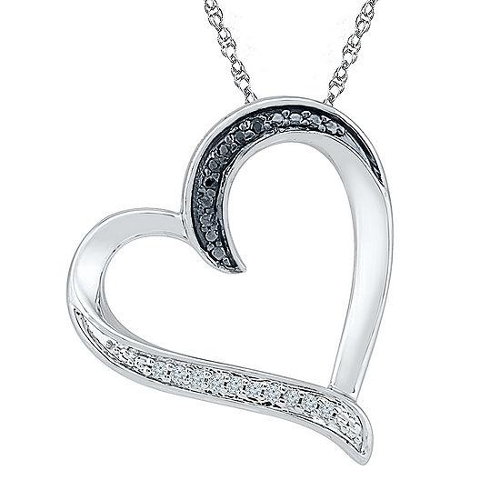 Womens Diamond Accent Genuine Black Diamond Sterling Silver Pendant Necklace