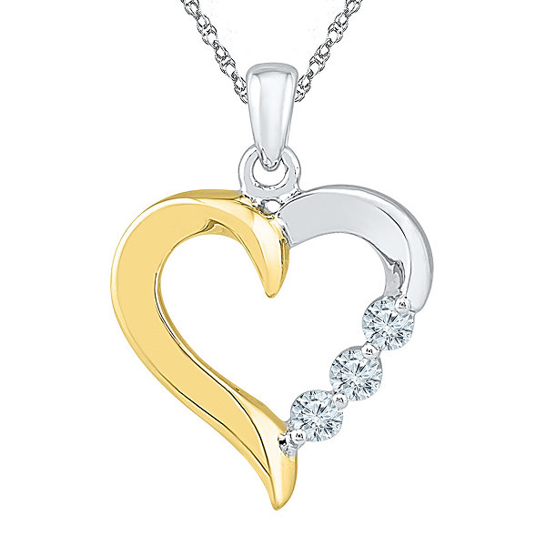 Womens 1/6 CT. T.W. White Diamond Gold Over Silver Pendant Necklace