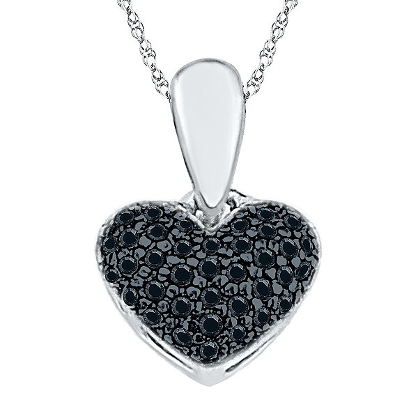 Womens White Diamond Sterling Silver Pendant Necklace