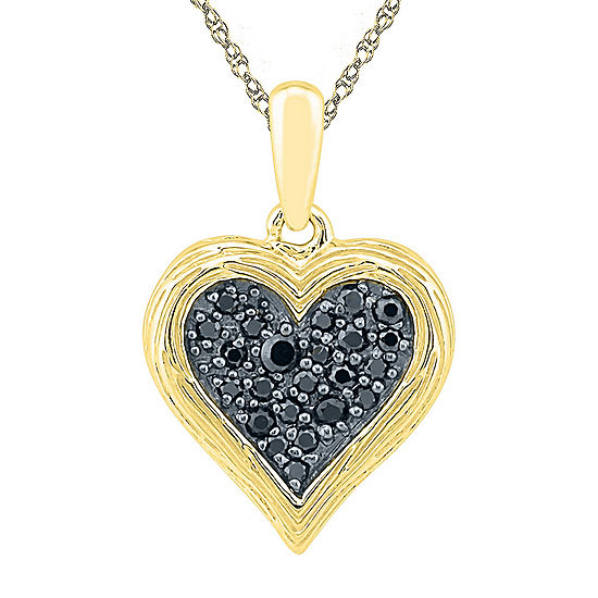 Womens 1/6 CT. T.W. Genuine Black Diamond 10K Gold Over Silver Pendant Necklace