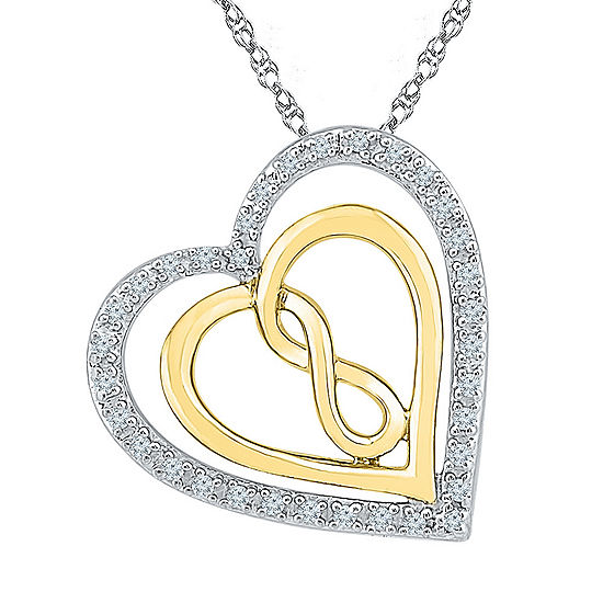 Womens 1/10 CT. T.W. White Diamond 10K Gold Over Silver Pendant Necklace