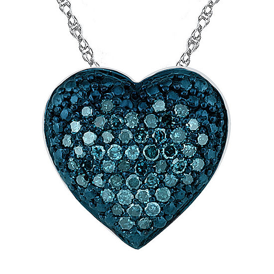 Womens 1/5 CT. T.W. Genuine Blue Diamond Sterling Silver Heart Pendant Necklace