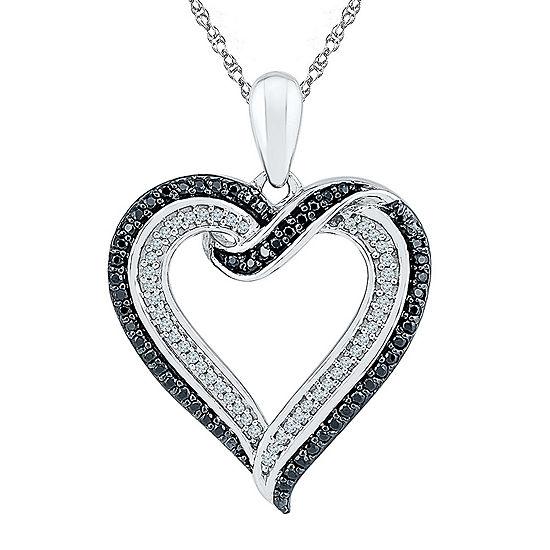 Womens 1/3 CT. T.W. Genuine Black Diamond Sterling Silver Pendant Necklace