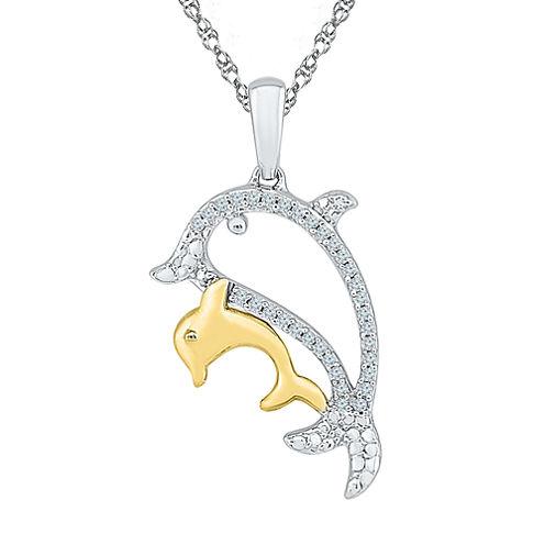 Womens White Diamond Gold Over Silver Pendant Necklace