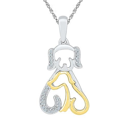 Womens Diamond Accent White Diamond Gold Over Silver Pendant Necklace