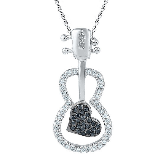 Womens 1/4 CT. T.W. Black Diamond Sterling Silver Pendant Necklace
