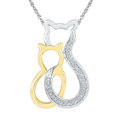 Womens Diamond Accent White Diamond 10K Gold Over Silver Pendant Necklace