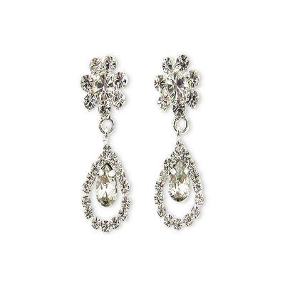 Vieste Rosa Clear Brass Drop Earrings