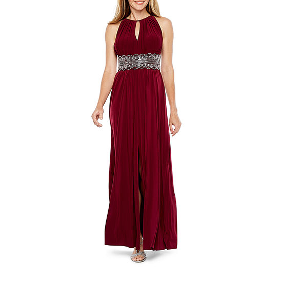 R & M Richards Sleeveless Embellished Halter Evening Gown