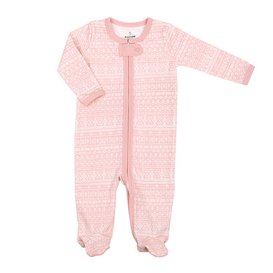 The Peanut Shell Pink Stripe Footie Girls Sleep and Play - Baby
