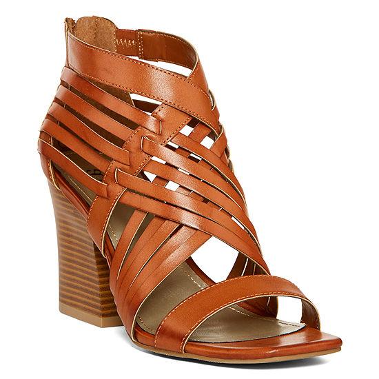 a.n.a Womens Wilson Zip Open Toe Block Heeled Sandals