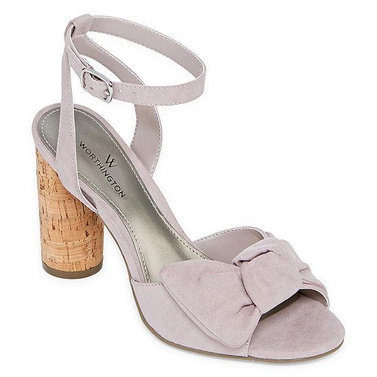 Worthington Womens Tinsley Pumps Strap Open Toe Block Heel