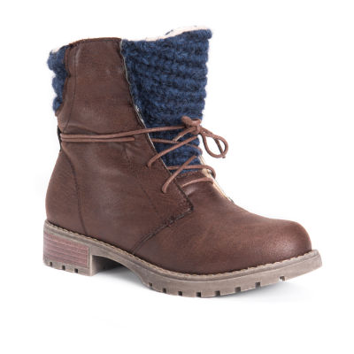 Muk Luks Womens Tatum Block Heel Lace-up Booties