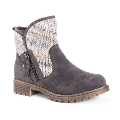 Muk Luks Womens Gerri Booties Block Heel Zip