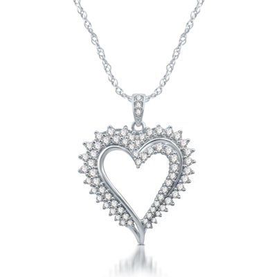 Womens 1 CT. T.W. Genuine Diamond 10K White Gold Heart Pendant Necklace