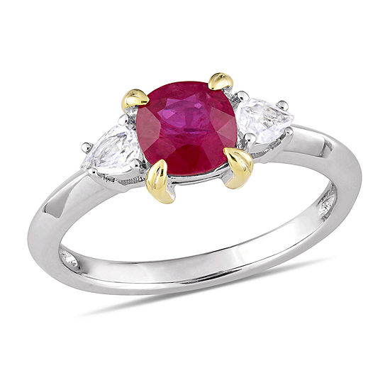 Modern Bride Gemstone Womens Lead Glass-Filled Red Ruby 14K White Gold Engagement Ring