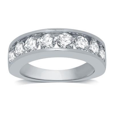Womens 3mm 2 CT. T.W. Genuine White Diamond 14K White Gold Wedding Band