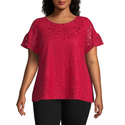 Liz Claiborne Yoke Sleeve Lace Top - Plus