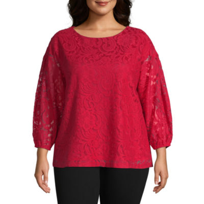 Liz Claiborne 3/4 Sleeve Lace Top - Plus