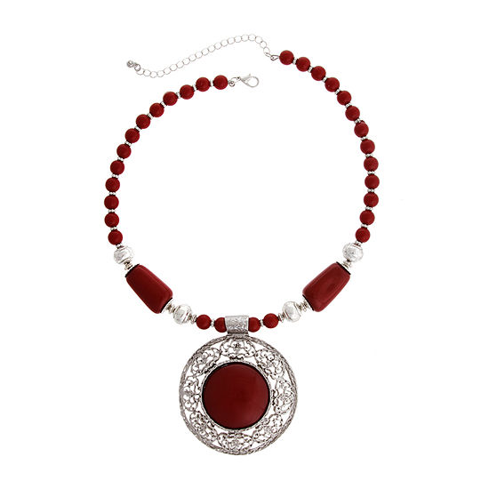 Mixit Red 15 Inch Beaded Necklace