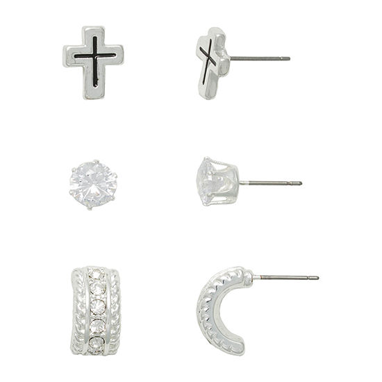 Mixit Religious Jewelry Hypoallergenic 3 Pair Cross Earring Set