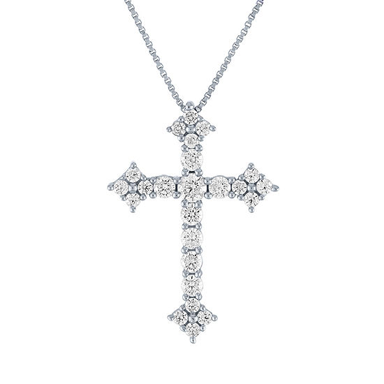 Womens 3/4 CT. T.W. Lab Grown Diamond 10K White Gold Cross Pendant