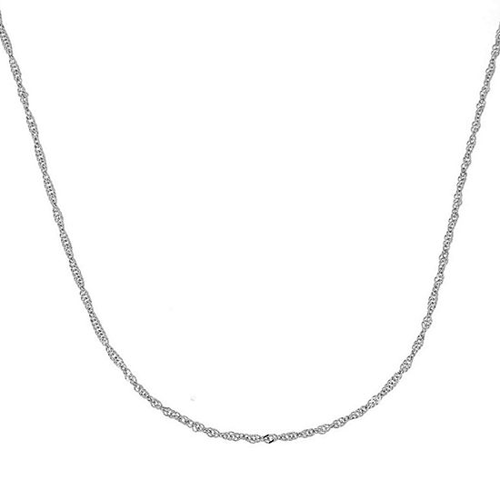 "Made in Italy 14K White Gold 18"" Singapore Chain"