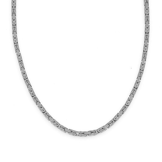 Made in Italy 14K White Gold 080 Solid Byzantine Chain