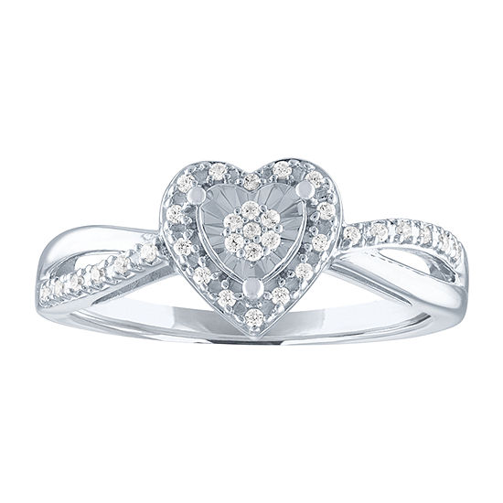 LIMITED TIME SPECIAL! Womens Genuine 1/10 CT. T.W. Diamond Heart Cocktail Ring in Sterling Silver