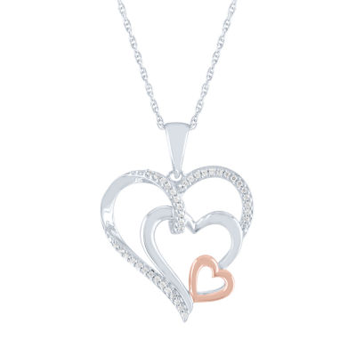 LIMITED TIME SPECIAL! Womens Genuine 1/10 CT. T.W. Diamond 14K Rose Gold Over Silver Heart Pendant