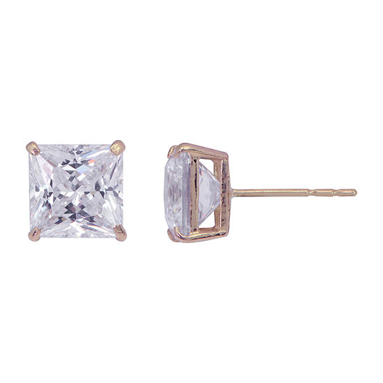 Princess-Cut Cubic Zirconia 10K Gold Stud Earrings