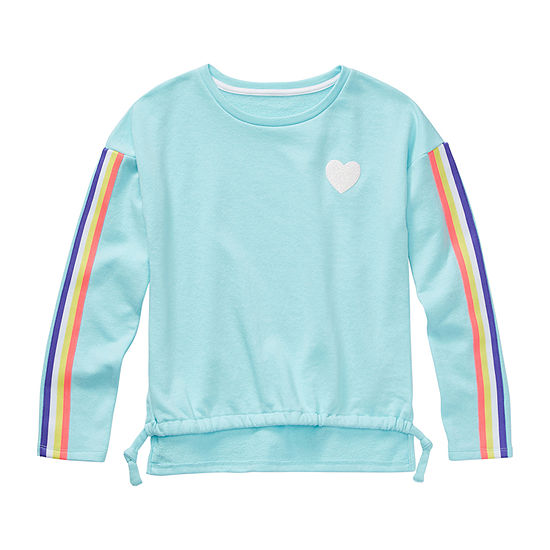Arizona Little & Big Girls Scoop Neck Long Sleeve Sweatshirt