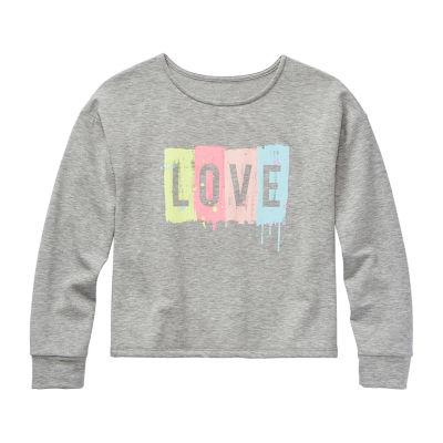 Arizona Little Kid / Big Kid Girls Scoop Neck Long Sleeve Sweatshirt