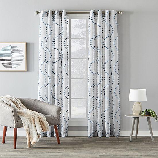 Saturday Knight Billow Waves Light-Filtering Grommet-Top Single Curtain Panel