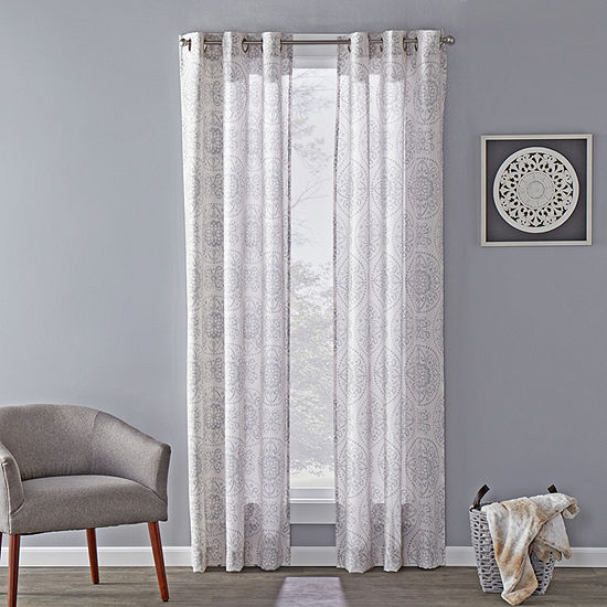 Sunsafe Kali Medallion Light-Filtering Grommet-Top Single Curtain Panel