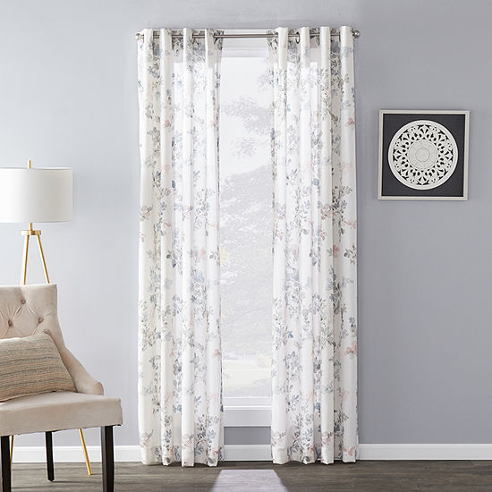 Sunsafe Refresh Floral Light-Filtering Grommet-Top Single Curtain Panel