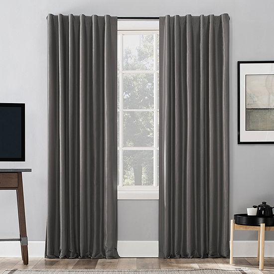 Sun Zero Evelina Faux Dupioni Silk Thermal Extreme Energy Saving 100% Blackout Back-Tab Single Curtain Panel