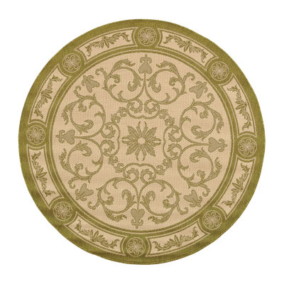 Safavieh Courtyard Collection Miah Floral Indoor/Outdoor Round Area Rug