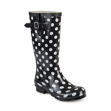 Vintage Boots, Retro Boots Journee Collection Womens Mist Rain Boots Water Resistant Block Heel 8 12 Medium Black $62.99 AT vintagedancer.com